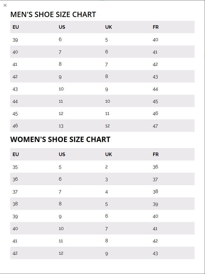 Realinsoles shoe size chart